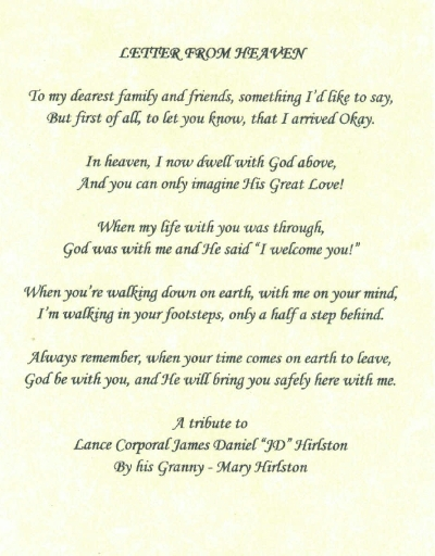 Letters From Heaven Poems Letter From Heaven Poem